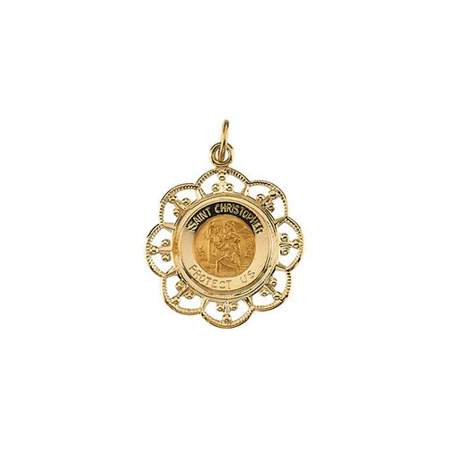 14kt Yellow Gold 23x20mm St. Christopher Medal
