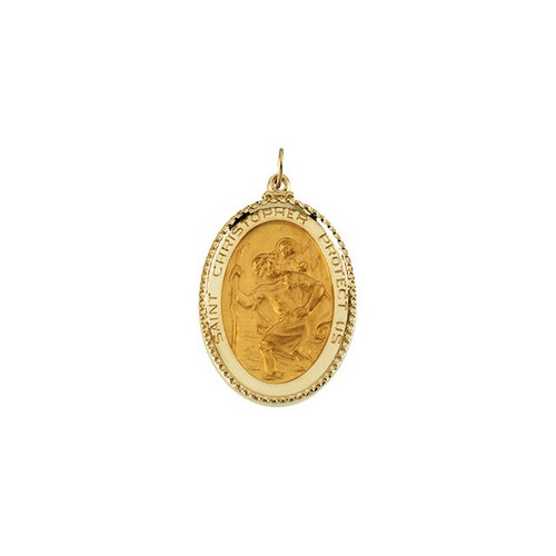 14kt Yellow Gold 39x26mm St. Christopher Medal