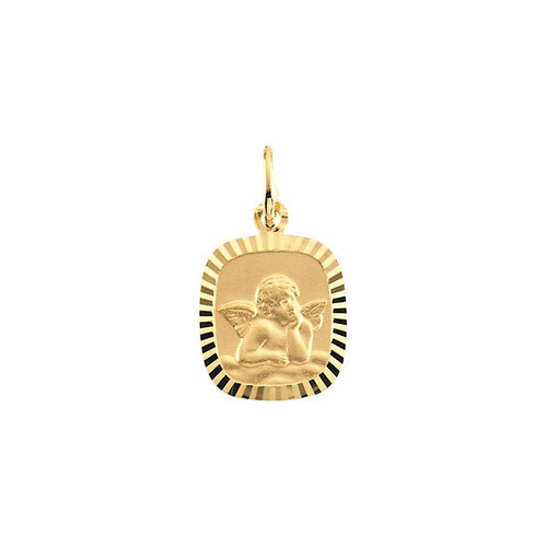 14kt Yellow Gold 12x11mm Angel Pendant Medal
