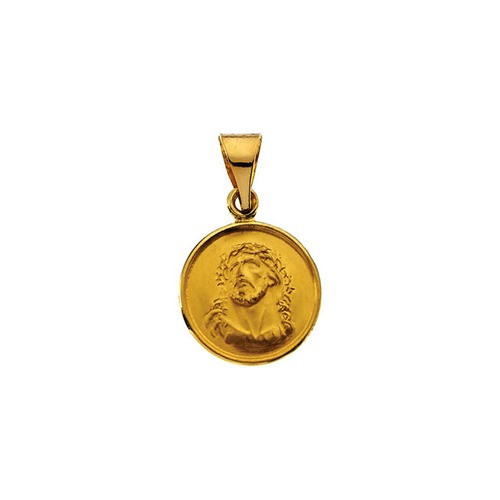 18kt Yellow Gold 13mm Face of Jesus Medal