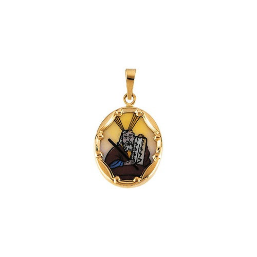 14kt Yellow Gold 13x10mm Moses Hand-Painted Porcelain Medal 0.36 Grams
