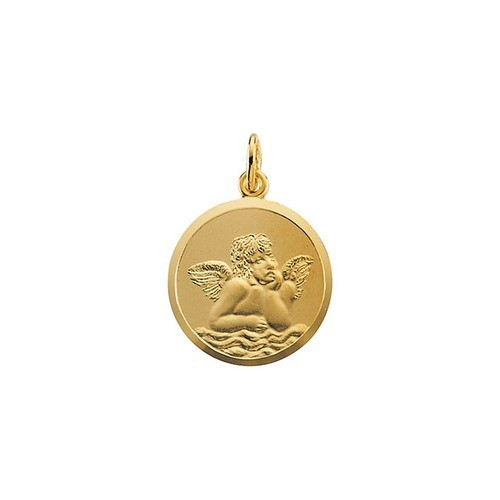 14kt Yellow Gold 16mm Angel Medal