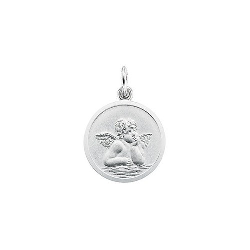 14kt White Gold 18mm Angel Medal