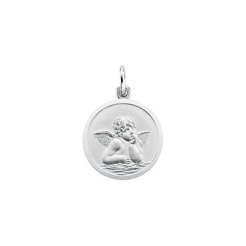 14kt White Gold 18mm Angel Medal