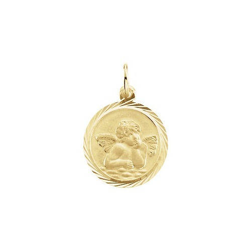 14kt Yellow Gold 14mm Angel Medal