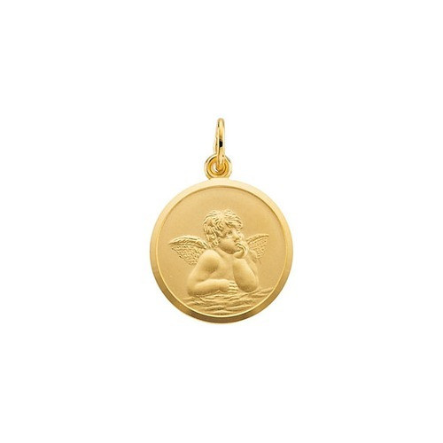 14Kt Yellow Gold 18mm Angel Medal