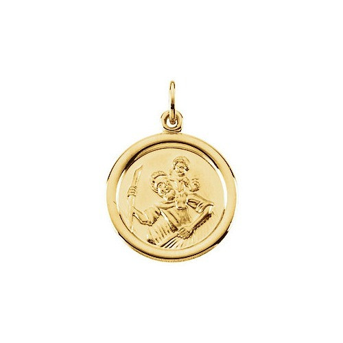 14kt Yellow Gold 16mm St. Christopher Medal
