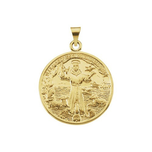 14kt Yellow Gold 26mm St. Francis of Assisi Medal