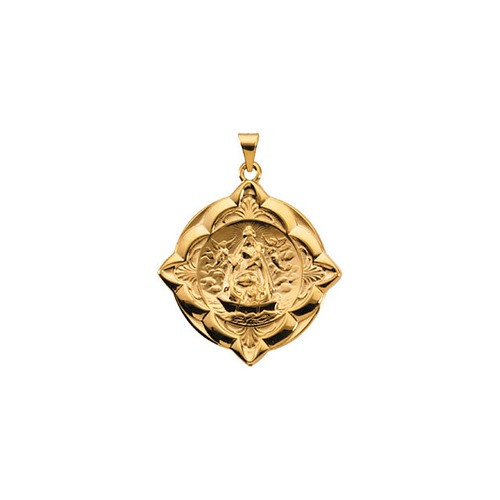 14kt Yellow Gold 31x31mm Caridad del Cobre Medal