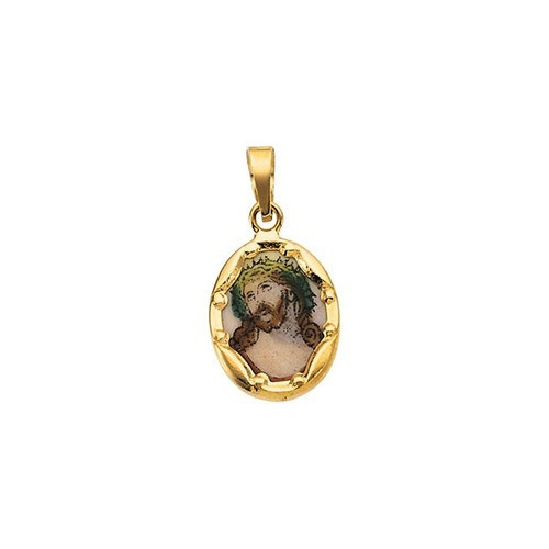 14kt Yellow Gold 13x10mm Face of Jesus Hand-Painted Porcelain Medal