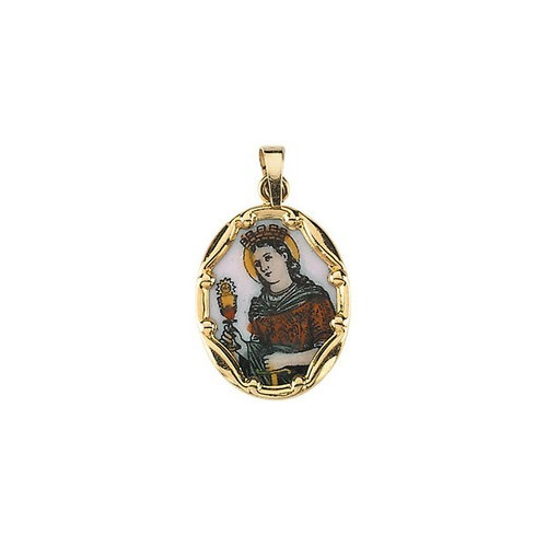 14kt Yellow Gold 17x13.5mm St. Barbara Hand-Painted Porcelain Medal