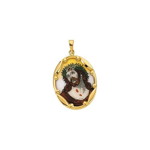 14kt Yellow Gold 25x19.5mm Face of Jesus Hand-Painted Porcelain Medal