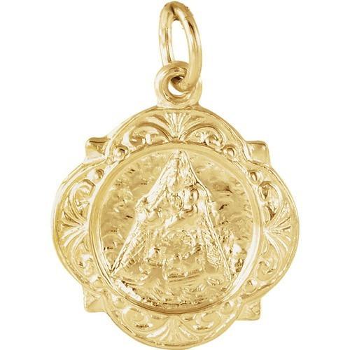 14kt Yellow Gold 12.14x12.09mm Caridad del Cobre Medal