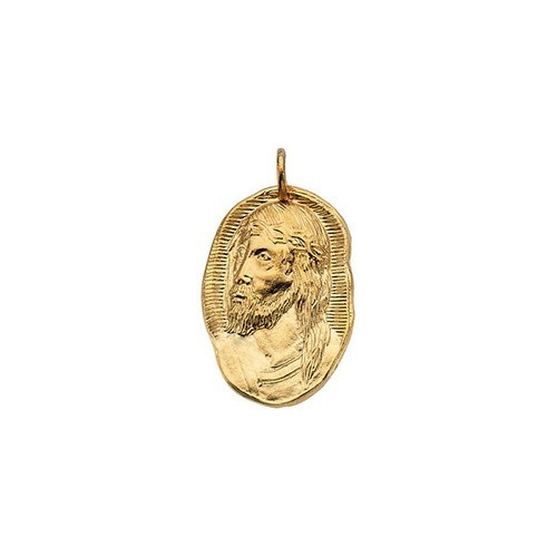 14kt Yellow Gold 26x18mm Face of Jesus Pendant