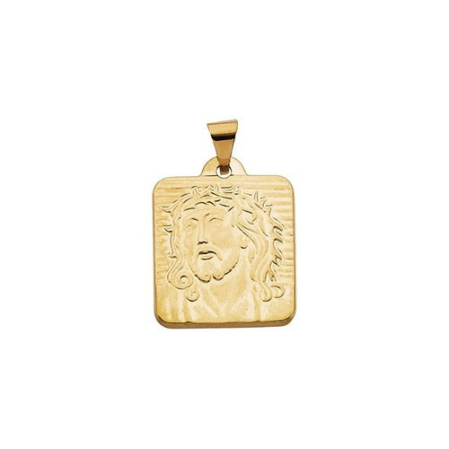 14kt Yellow Gold 18.5x17mm Face of Jesus Pendant