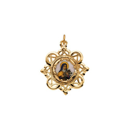 10kt Yellow Gold 25.75x25.75mm St. Theresa Framed Enamel Pendant
