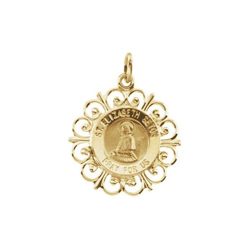 14kt Yellow Gold 18.5mm Round St. Elizabeth Seton Medal