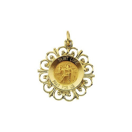 14kt Yellow Gold 18.5mm Round St. Luke Medal