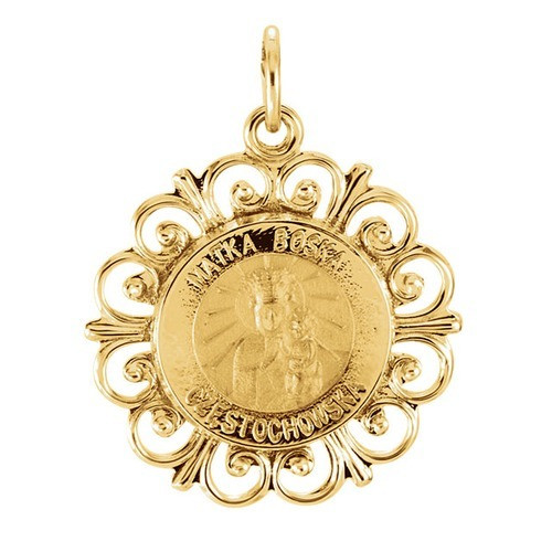 14kt Yellow Gold 18.5mm Round Matka Boska Medal