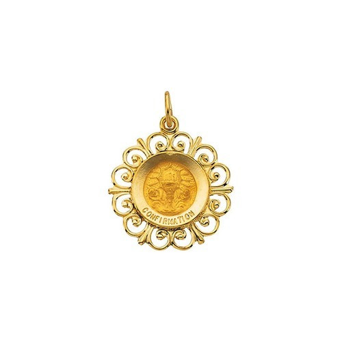 14kt Yellow Gold 18.5mm Round Confirmation Pendant Medal