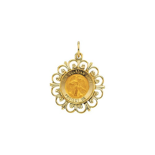 14kt Yellow Gold 18.5mm Round Guardian Angel Pendant Medal