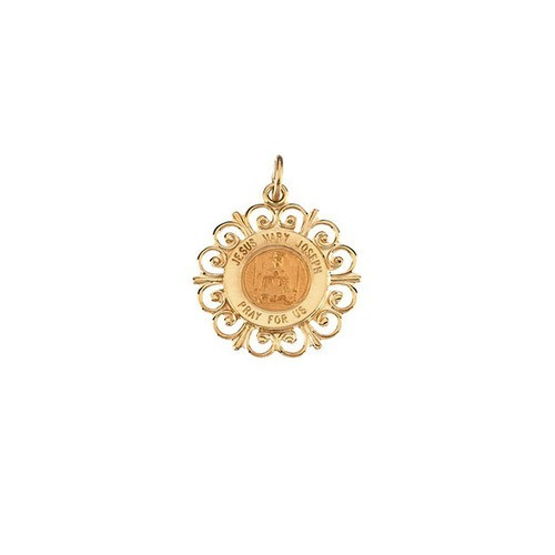 14kt Yellow Gold 18.5mm Altagracia Holy Family Pendant Medal