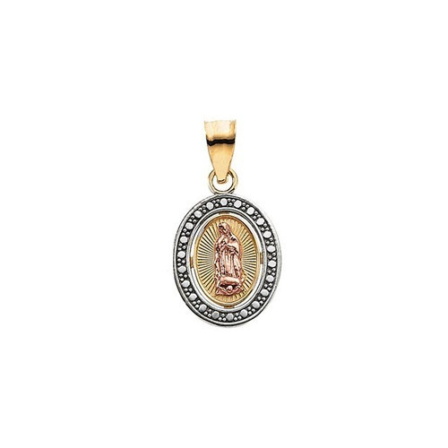 14kt Yellow Gold 12.25x10mm Tri-Color Our Lady of Guadalupe Oval Pendant
