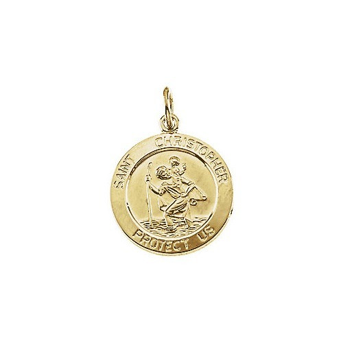 14kt Yellow Gold 15mm St. Christopher Medal