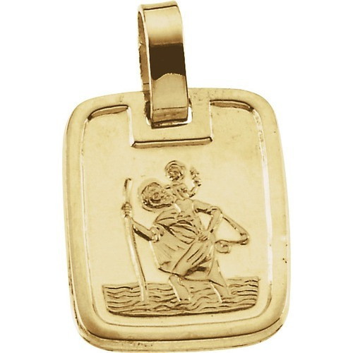 18kt Yellow Gold 13.1x11.2mm St. Christopher Medal