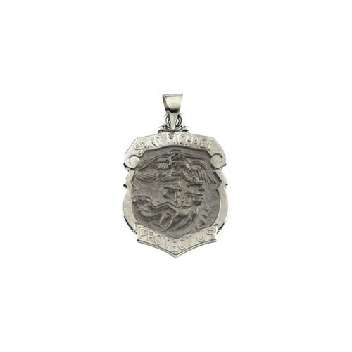 14kt White Gold 24.25x20.75mm Hollow St. Michael Medal