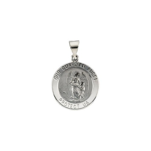 14kt White Gold 18.25x18.5mm Hollow Round Guardian Angel Medal