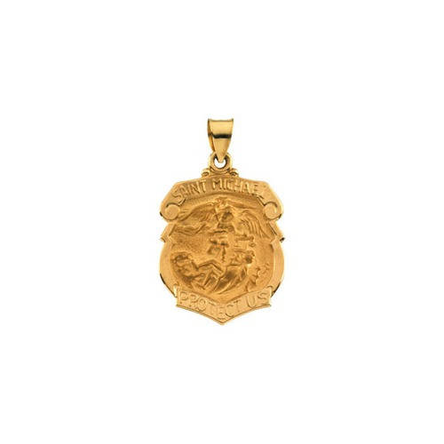 14kt Yellow Gold 25x21.5mm Hollow St. Michael Medal