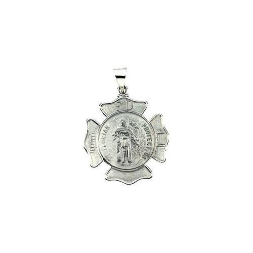 14kt White Gold 25.25x25.25mm Hollow St. Florian Medal