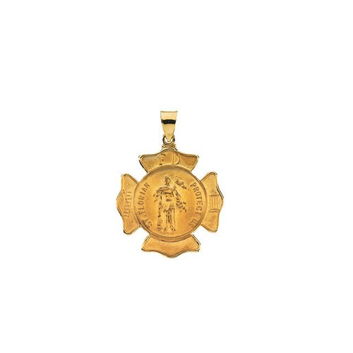 14kt Yellow Gold 25.25x25.25mm Hollow St. Florian Medal