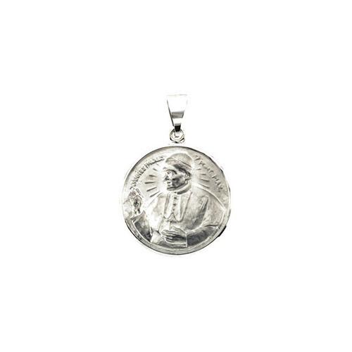 14kt White Gold 20.75mm Round Pope John Paul II Hollow Medal