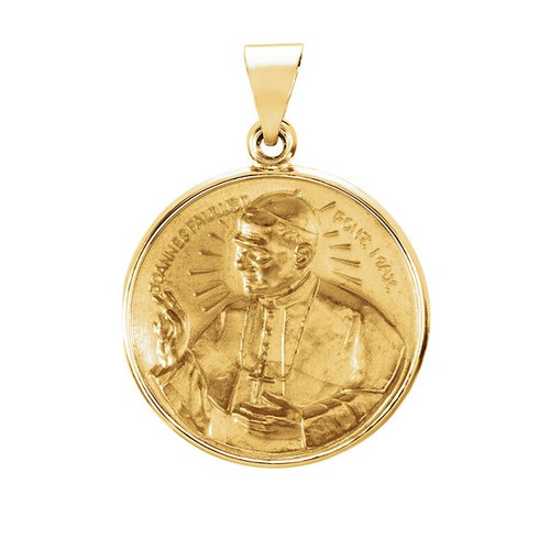 14kt Yellow Gold 20.75mm Round Pope John Paul II Hollow Medal