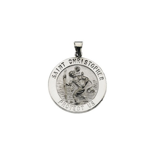 14kt White Gold 25.5mm Hollow Round St. Christopher Medal