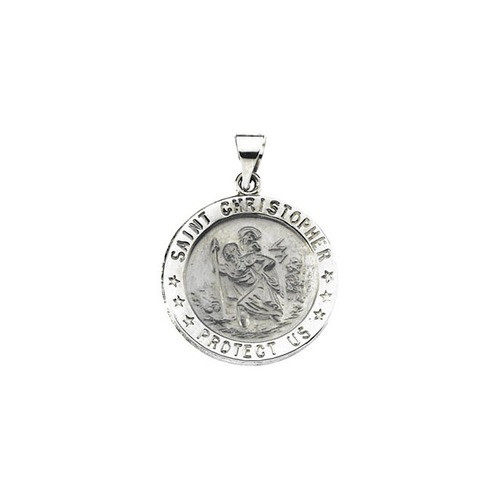14kt White Gold 21.75mm Hollow Round St. Christopher Medal