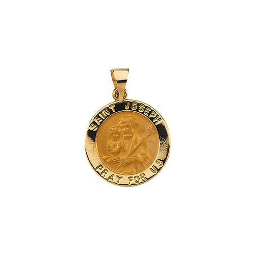 14kt Yellow Gold 18.25mm Hollow Round St. Joseph Medal