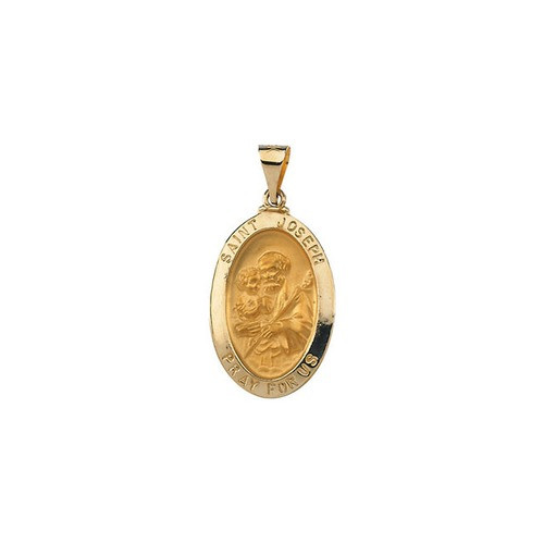 14kt Yellow Gold 23.25x16mm Hollow Oval St. Joseph Medal