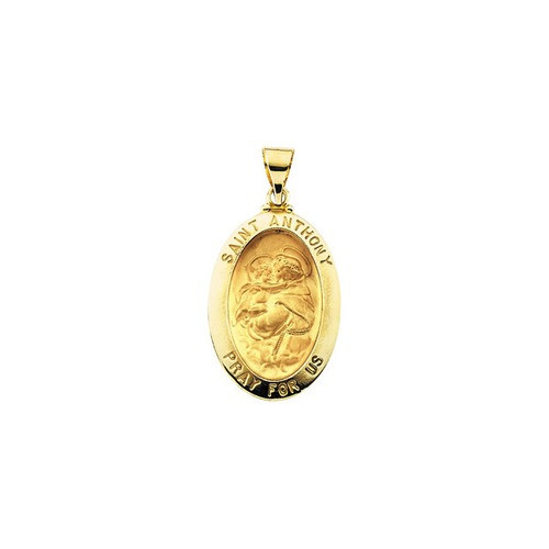 14kt Yellow Gold 23x16mm Hollow Oval St. Anthony Medal