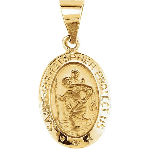 14kt Yellow Gold 15x11mm Oval St. Christopher Hollow Medal