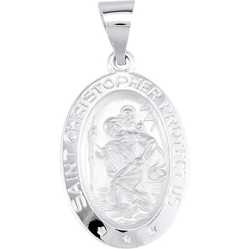 14kt White Gold 19x13.5mm Oval St. Christopher Hollow Medal