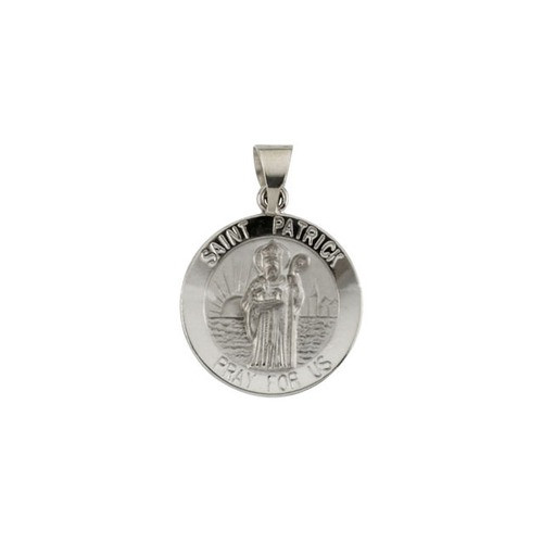 14kt White Gold 18mm Round Hollow St.Patrick Medal