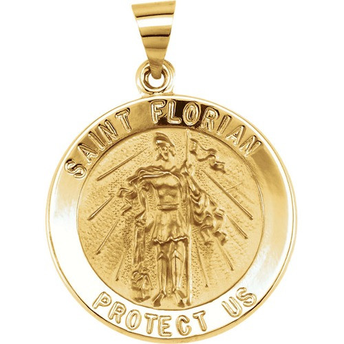 14kt Yellow Gold 21.8mm Round Hollow St. Florian Medal