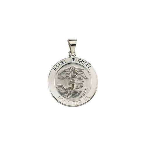 14kt White Gold 22.25mm Round Hollow St. Michael Medal