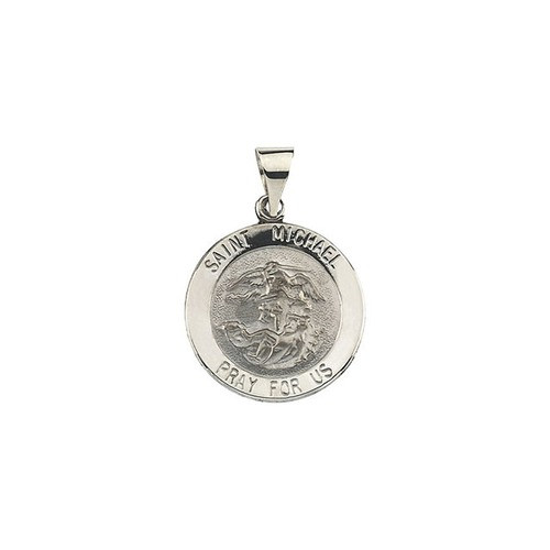 14kt White Gold 18.25mm Round Hollow St. Michael Medal