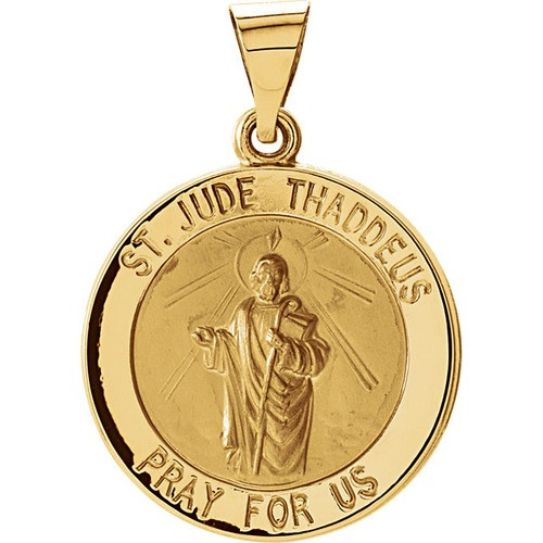 14kt Yellow Gold 18.25mm Hollow Round St. Jude Medal