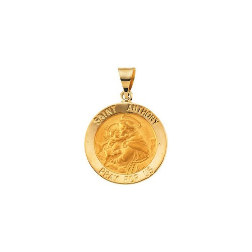 14kt Yellow Gold 18.25mm Hollow Round St. Anthony Medal