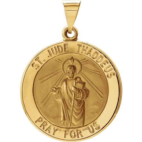 14kt Yellow Gold 22.25mm Hollow Round St. Jude Medal